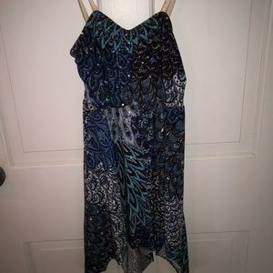 Creations By Cicci Blue Brown Feather Dance Dress